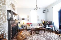 Ruthie & Will's Eclectic Nashville Charmer: note stained glass window hanging in corner