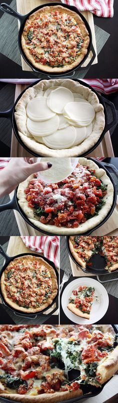 Deep Dish Spinach and Tomato Pizza. If I had a heart attack eating this, I would die a happy woman.