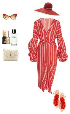 """for lunch on the beach"" by viktoria512 ❤ liked on Polyvore featuring Johanna Ortiz, Yestadt Millinery, Charlotte Olympia, Yves Saint Laurent and Tom Ford"