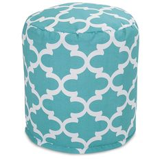 Teal Round Shape Small Ottoman Polyester Geometric Pattern Type Assemble Spot Clean Zipper Cover Removable cover High Light Blue