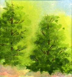 original watercolor, Two Trees