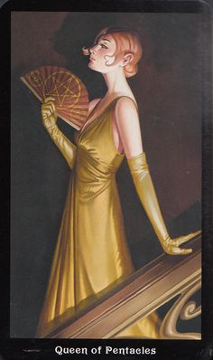 Queen of Pentacles from Barbara Moore's Steampunk Tarot #tarot