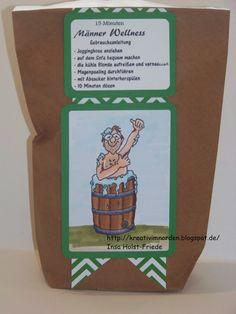 Kreativ im Norden: Wellness für Männer das Original :) ,Männertüte, 15 Minuten Wellness Vilda Stamps, Männerwellness