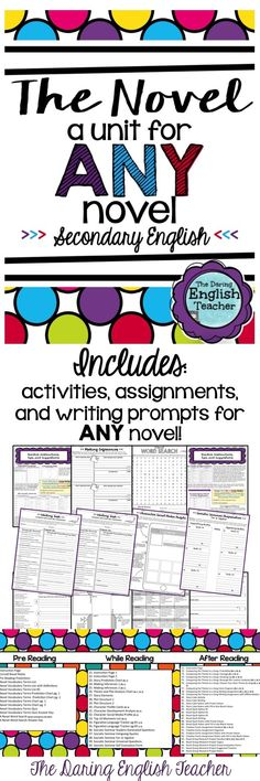 Teach ANY novel to your secondary students with this unit! It includes activities assignments and writing prompts that can be used with any novel! 6th Grade Reading, 6th Grade Ela, Middle School Reading, Middle School English, Sixth Grade, Teaching Secondary, Reading Strategies, Reading Resources, School Resources
