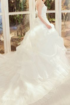 Tulle Strapless Cathedral Train Ball Gown Wedding Dress - WooVow