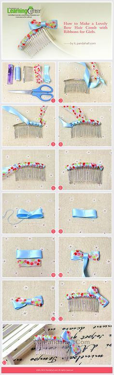 How to Make a Lovely Bow Hair Comb with Ribbons for Girls