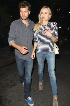 >>> Diane Kruger in PLay striped top with Pacey
