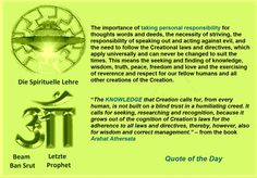 """The importance of taking personal responsibility for thoughts words and deeds, the necessity of striving, the responsibility of speaking out and acting against evil, and the need to follow the Creational laws and directives, which apply universally and can never be changed to suit the times. This means the seeking and finding of knowledge, wisdom, truth, peace, freedom and love and the exercising of reverence and respect for our fellow humans and all other creations of the Creation. """"The…"""