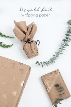 Easy DIY Gold Foil Wrapping Paper -- 3 Ways Idle Hands Awake