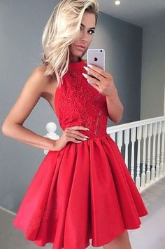 A-Line Homecoming Dresses,Halter Homecoming Dress,Backless Prom Dresses,Red Homecoming #Short Homecoming Dress#HomecomingDresses#Short PromDresses#Short CocktailDresses#HomecomingDresses