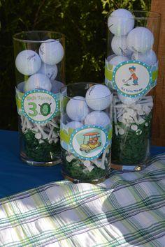 grass, tee, balls in a cute jar with field grass