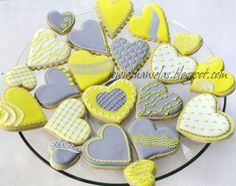 Haniela's: ~Gray Yellow and White Heart Cookies~