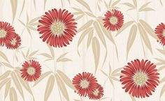 Navarra Almeria (M0674) - Crown Wallpapers - Almeria - A stunning Sunflower in four different shades. Shown here in flame red with metallic gold and gilver highlights on a cream textured background. Please request a sample for true colour match.