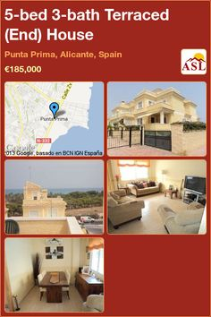 Terraced (End) House for Sale in Punta Prima, Alicante, Spain with 5 bedrooms, 3 bathrooms - A Spanish Life Alicante Spain, Large Shower, Family Bathroom, Double Bedroom, How To Level Ground, Terrace, Entrance, House, Life