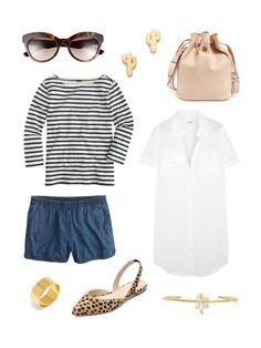 These are our Spring basics. What's yours?  Striped long sleeved shirt.  Denim shorts.  Leopard Flats.  White shirt dress.  Pastel bucket bag.  Cat eye shades.  Gold jewelry.