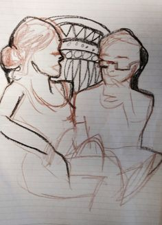 """Pam, in West LA, drew me and my hubby in a very intimate moment of deep conversation. """"Tell me about the patterns between our heads.""""-me""""It's a very #primal pattern."""" -Pam""""Maybe that says something about how you perceive us."""" -me""""Maybe it does. winkyface ."""" -Pam"""