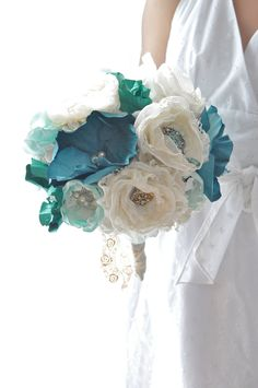 Bridal accessories, bouquets Aqua teal wedding flowers with emerald paper flowers and romantic vintage brooch fabric flowers. $345.00, via Etsy.