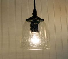 Hollis Seeded PENDANT Light with Clear Bulb by LampGoods on Etsy, $49.00