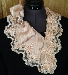 Beautiful blush pink detachable collar made from man's necktie and lace, with brooch embellishment. https://www.etsy.com/shop/crene?ref=ss_profile
