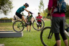Candace Shadley breaks it down in a clinic in Fruita. Credit: Anne Keller/Trek Dirt Series Mountain Bike Camps