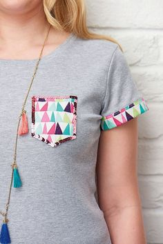 Sequin and fabric tee shirt pocket sewing pattern