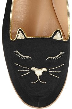 Charlotte Olympia|Cat Nap embroidered satin slippers|NET-A-PORTER.COM