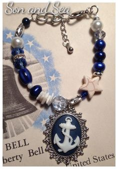 US Navy pride anchor beaded bracelet by Son and Sea by sonandsea, $24.00