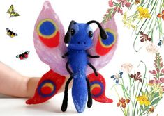 Butterfly, felted glove toy on hand for puppet theater Butterfly Felt, Kids Hands, Finger Puppets, Felt Toys, Wet Felting, Glove, Wool Felt, Kids Toys, Theater