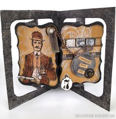 Fun masculine birthday card using @Tim Holtz stamps and idea-ology findings. Karen Burniston's Accordion 3D die was used for the card base.