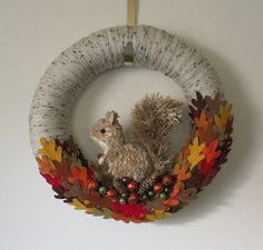 Autumn Wreath Fall Wreath Squirrel Wreath by TheBakersDaughter