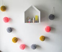 Giant Pom Pom Garland in Neon Pink, Mustard and Grey