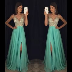 New Arrival Prom Dress,Modest Prom Dress,sparkly Crystal Beaded V Neck Open Back Long Chiffon Prom Dresses 2017 Pageant Evening Gowns With Leg Slit Sparkly Prom Dresses, Beaded Prom Dress, Prom Dresses 2017, Backless Prom Dresses, A Line Prom Dresses, Pageant Dresses, Beaded Top, Prom Gowns, Sexy Evening Dress