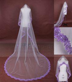 New-Bridal-Wedding-Floral-Lace-Purple-Lace-veil-1-Tier-tulle-veil-Pearl-Mantilla