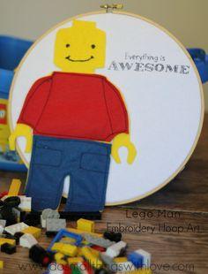 Lego Man Embroidery Hoop Art