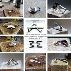 These are some shapes and uses of titanium soldering clamps Jewelry Tools, Jewelry Findings, Jewelry Making, Metal Jewelry, Jewelry Ideas, Glass Birds, Precious Metals, Metal Working, Keep It Cleaner
