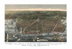 The City of Brooklyn, New York. Currier & Ives. 1879 Reproduction Vintage Map.  Available in different size.