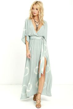394d0c214299 Sage Green Tie Dye Maxi Dress Cream and sage green tie-dyed rayon covers  wide short sleeves