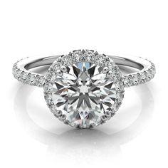 Forever One Moissanite & Diamond Halo Ring