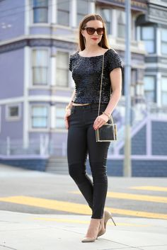 Haight Steet Vintage Sparkle | Ginger Side of Life    Love mixing vintage pieces with modern purchases. Mixed a sequin crop top with waxed Moto denim for a perfect Haight Street, San Francisco look for any occasion!