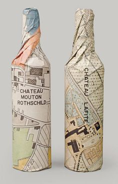 "Vintage Map Print used in ""Waddesdon Wine: Rothschild Collection"" Wine Bottle Wrap Packaging"