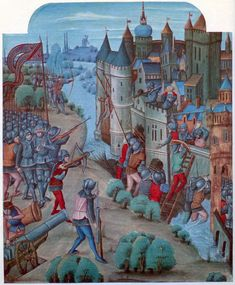 siege as it nears its end. The walls have been breached. Crossbow bolts are loosed. Cannon are loaded. Yet everything is strangely stilled and stilted. There is none of the abject misery and starvation that Froissart aludes to in his Chronicle.  Image source:A fifteenth century manuscript from the John Soane's Museum.Image declared to be public domain on Wikimedia Commons because its copyright has expired.