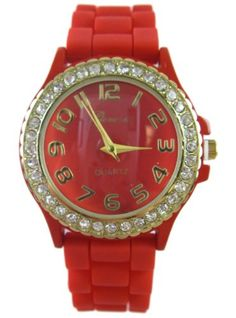 Ladies Dress Watch with Red Silicone Band - Womens Fashion Watch with Rhinestone Gold Bezel Ladies Dress Watches, Fashion Watches, Rolex Watches, Bracelet Watch, Band, Womens Fashion, Accessories, Sash, Women's Fashion