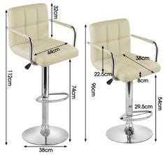 Popamazing 2x Cream/Black Bar Stools - Faux Leather Metal Base Kitchen Breakfast Stool Dining Room Chair (Cream): Amazon.co.uk: Kitchen & Home