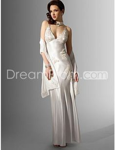Amazing Sheath/Column Spaghetti Straps Floor-length Court Wedding Dresses (WS0049)