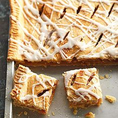 These dessert bars have a top and bottom pastry crust. It's like apple pie in a baking pan!
