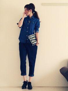 dxさんのシャツ・ブラウス「Ray BEAMS デニムシャツ」を使ったコーディネート Tomboy Fashion, Cute Fashion, Girl Fashion, Fashion Looks, Womens Fashion, Fashion Trends, Ladies Fashion, Japan Fashion, Minimal Fashion