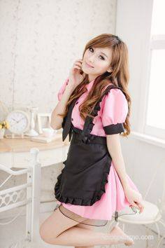Pink Sweet Turndown Collar Maid Uniform - French Maid Costumes - Costumes