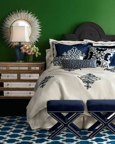"Blue White decor in a bright emerald green room -- Callisto Home - ""St. Martin"" Bed Linens - hand-sewn hand-embroidered bed linens showcase airy intricate applique work in cream navy. Made of linen navy rayon velvet by Callisto Home. Bedroom Green, Home Bedroom, Bedroom Decor, Bedroom Ideas, Wall Decor, Pretty Bedroom, Bedroom Colors, Bedroom Designs, Emerald Green Rooms"