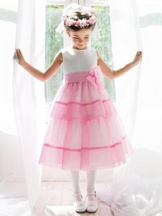 Bubble Gum Pink Satin and Organza Layered Flower Girl Dress (Available in Sizes 2-10 in 3 Colors)