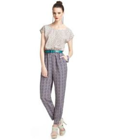 Bar III Front Row Jumpsuit, Short-Sleeve Scoop-Neck Mixed-Print $49.99